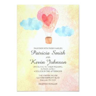 Watercolor Hot Air Balloon Wedding 13 Cm X 18 Cm Invitation Card