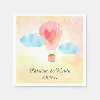 Watercolor Hot Air Balloon Wedding Paper Serviettes