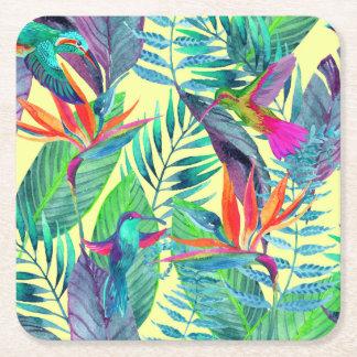 Watercolor Humminbirds In The Jungle 2 Square Paper Coaster