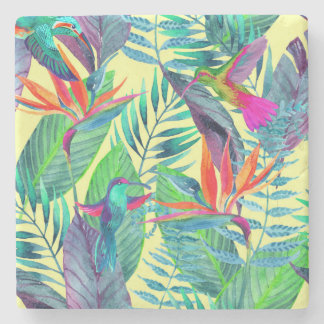 Watercolor Humminbirds In The Jungle 2 Stone Beverage Coaster