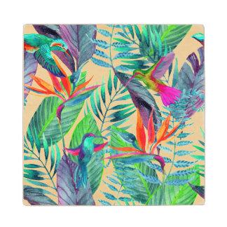 Watercolor Humminbirds In The Jungle 2 Wood Coaster