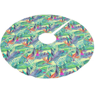Watercolor Humminbirds In The Jungle Brushed Polyester Tree Skirt