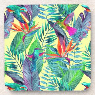 Watercolor Humminbirds In The Jungle Coasters