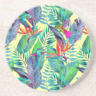 Watercolor Humminbirds In The Jungle Drink Coasters