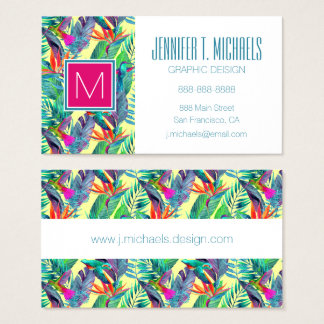 Watercolor Humminbirds In The Jungle | Monogram Business Card