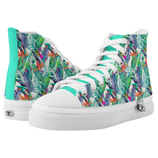 Watercolor Humminbirds In The Jungle Printed Shoes