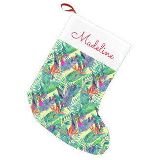 Watercolor Hummingbirds | Add Your Name Small Christmas Stocking