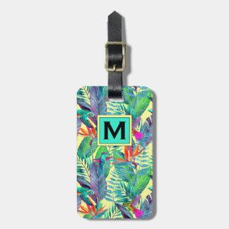 Watercolor Hummingbirds In The Jungle | Monogram Bag Tag