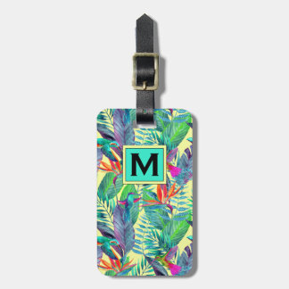 Watercolor Hummingbirds In The Jungle | Monogram Luggage Tag