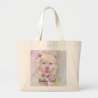 Watercolor Husky Dog Large Tote Bag