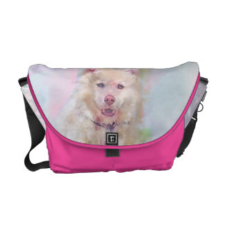Watercolor Husky Dog Messenger Bag