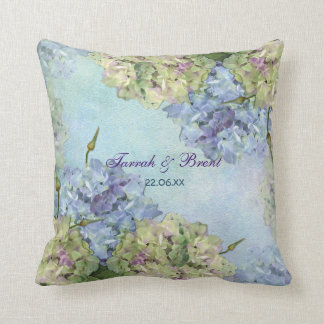 Watercolor Hydrangea Floral Throw Pillow