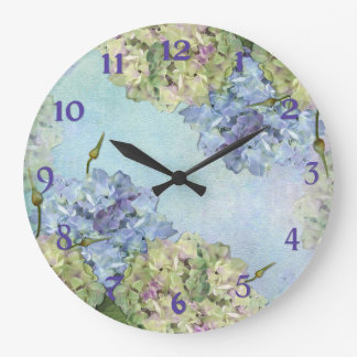 Watercolor Hydrangea Floral Wallclocks
