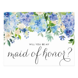 Watercolor Hydrangeas Will You Be My Maid of Honor Postcard