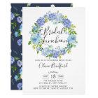 Watercolor Hydrangeas Wreath Bridal Luncheon Card