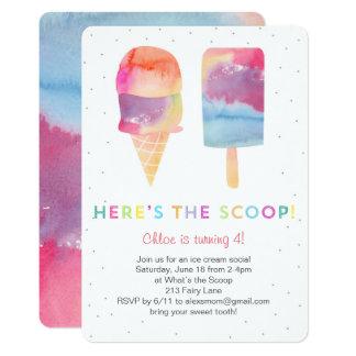 Watercolor Ice Cream Birthday Party Invite