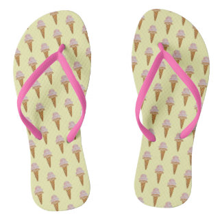 Watercolor Ice Cream Flip Flops (yellow) Thongs