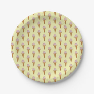 Watercolor Ice Cream Paper Plate (yellow) 7 Inch Paper Plate