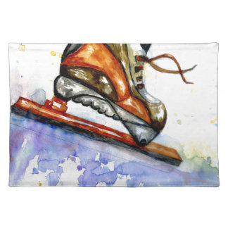 Watercolor Ice Skate Placemat