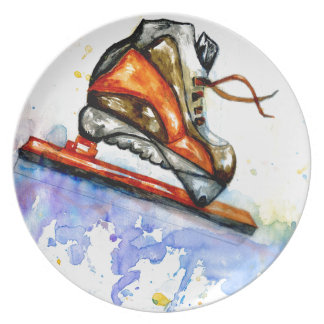 Watercolor Ice Skate Plate
