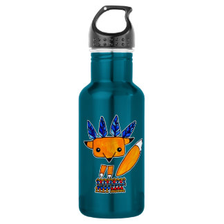 Watercolor illustration cute Fox. Fun nice animal 532 Ml Water Bottle