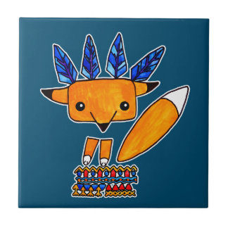 Watercolor illustration cute Fox. Fun nice animal Ceramic Tile