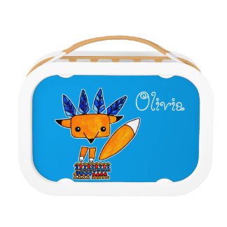 Watercolor illustration cute Fox. Fun nice animal Lunch Boxes
