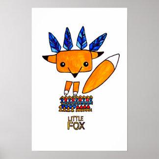 Watercolor illustration cute Fox. Fun nice animal Poster