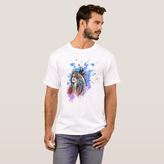 Watercolor Indian girl with feathers T-Shirt
