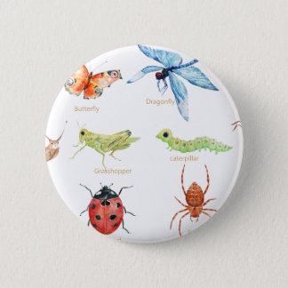 Watercolor insect illustration 6 cm round badge