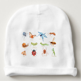 Watercolor insect illustration baby beanie