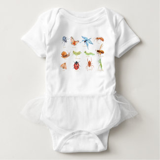 Watercolor insect illustration baby bodysuit