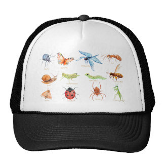 Watercolor insect illustration cap