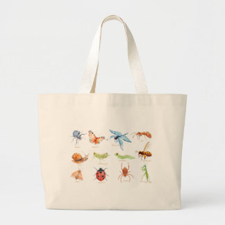 Watercolor insect illustration large tote bag