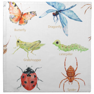 Watercolor insect illustration napkin