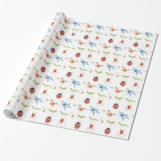 Watercolor insect illustration wrapping paper