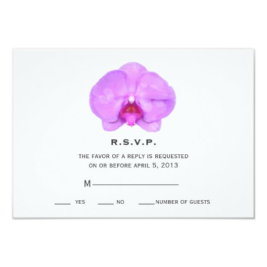 Watercolor Inspired Orchid Wedding RSVP Card