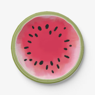 Watercolor Inspired Watermelon Paper Plates