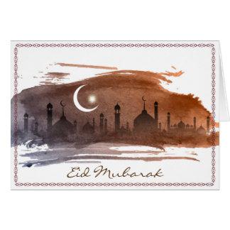 Watercolor Islamlic Eid Mubarak Greeting Card