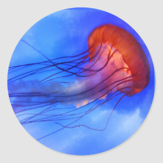 Watercolor Jellyfish Classic Round Sticker