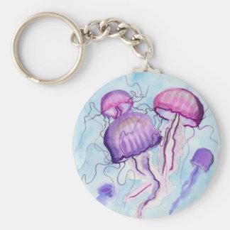Watercolor Jellyfish Key Ring