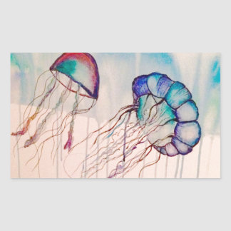 Watercolor Jellyfish Rectangular Sticker