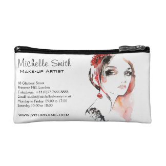 Watercolor jewellery make up artist branding cosmetic bag