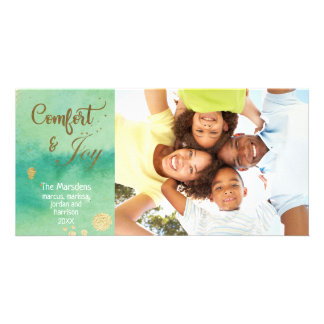 Watercolor Joy Hand Lettered Script Photo Holiday Card
