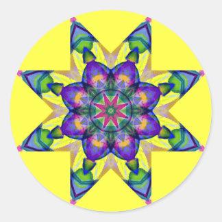 Watercolor Kaleidoscopic Mandala Design 4 Classic Round Sticker