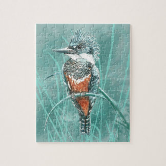 Watercolor Kingfisher Bird Nature Art Jigsaw Puzzle