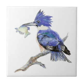 Watercolor Kingfisher Bird Wildlife Small Square Tile