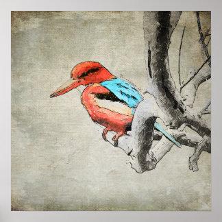 Watercolor Kingfisher Canvas Print