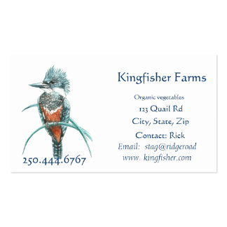 Watercolor Kingfisher Organic Farm Business Logo Pack Of Standard Business Cards