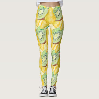 Watercolor Kiwi and Pear Leggings